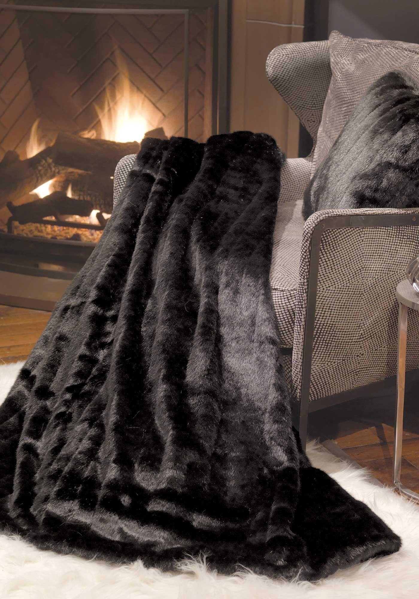 Black Mink Signature Series Faux Fur Throw Blankets Faux Fur