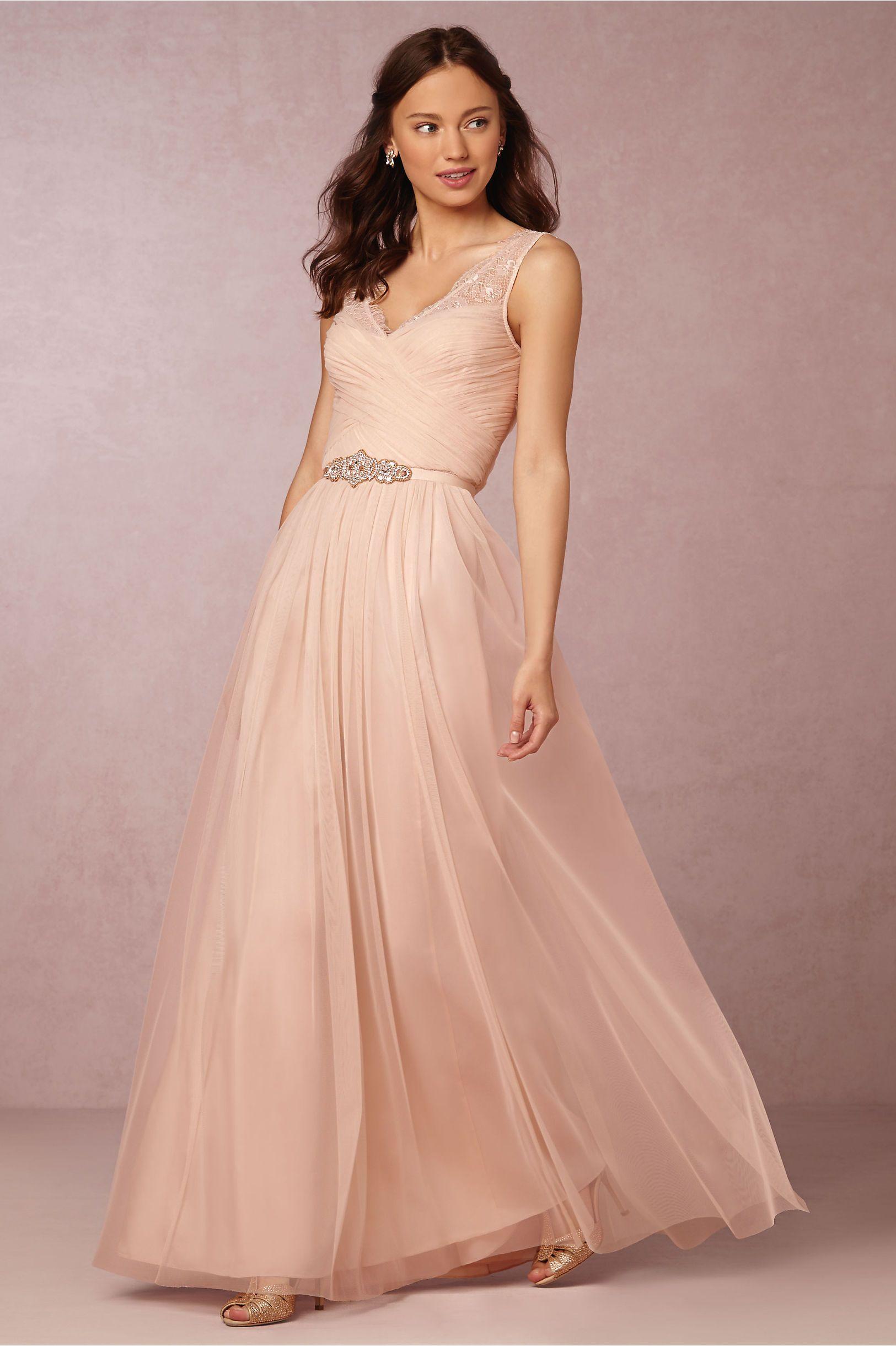 Long wedding reception dresses for the bride  BHLDN Fleur Dress in Bridal Party  BHLDN  BLUSH  Didnut try on