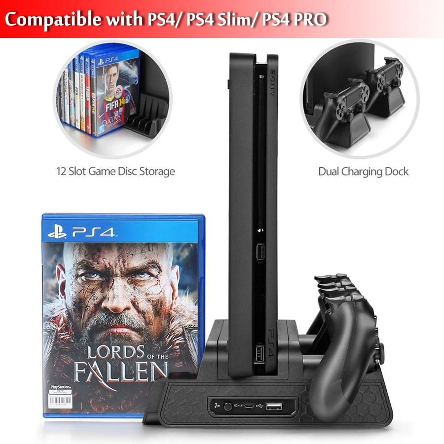 Dobe Ps4 Ps4 Slim Ps4 Pro Vertical Stand With Cooling Fan Cooler