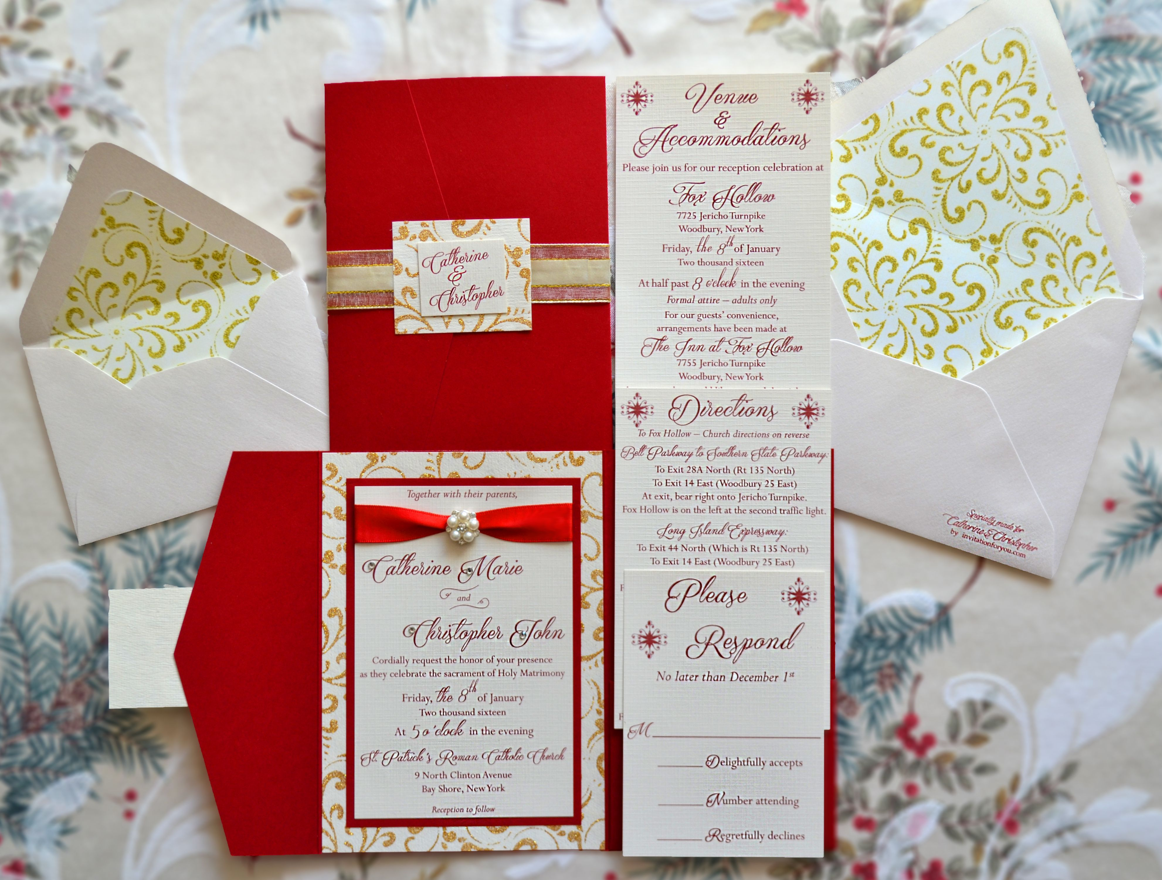 A beautiful red, gold glitter, and cream linen wedding invitation ...