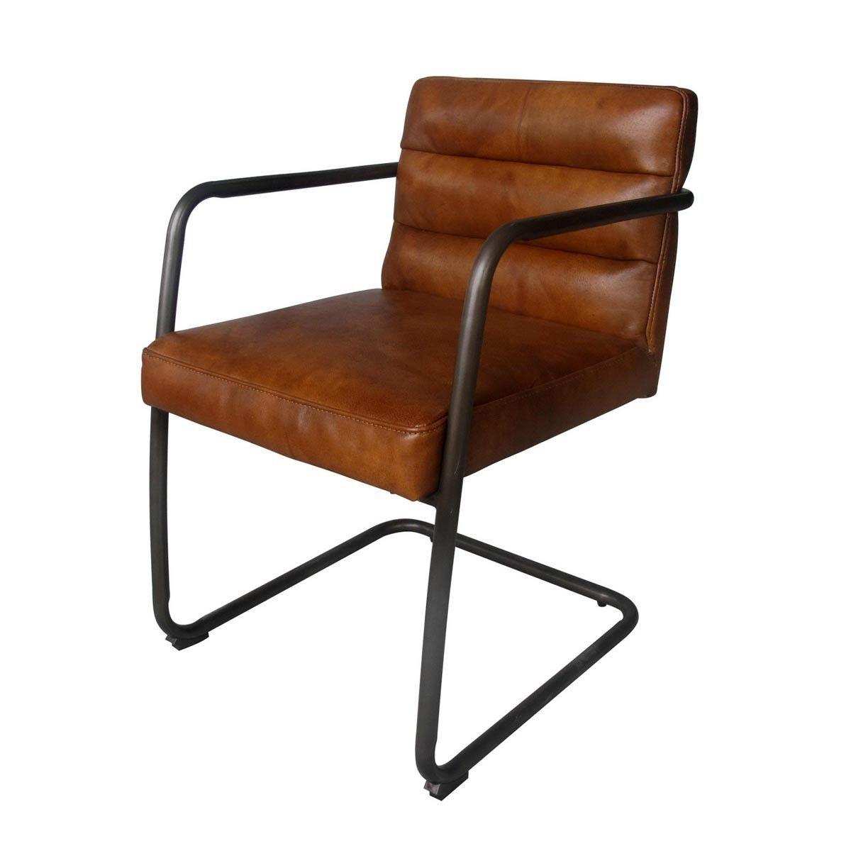 Vintage - Mooie industiele stoel met een cognac lederen bekleding en een gebogen metalen frame.  Deze stoel is direct uit voorraad leverbaar