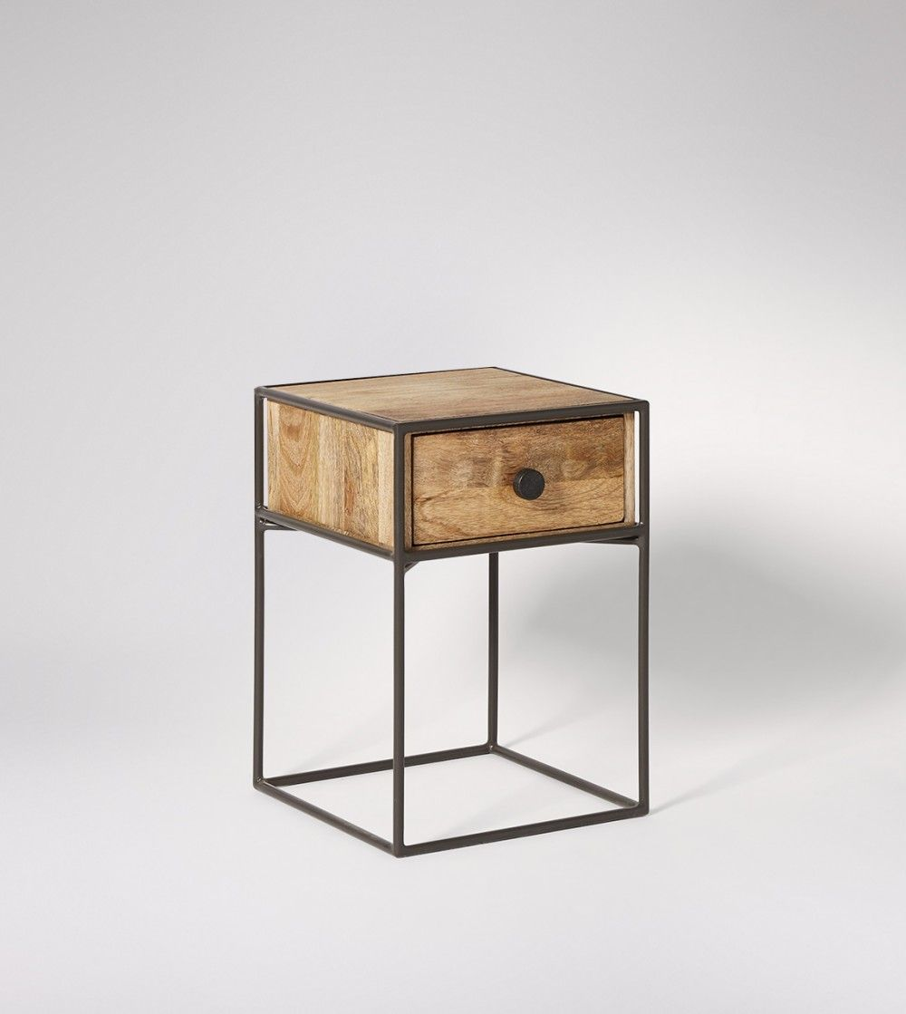 Bedside Table Utility Style In Mango Wood Wood Bedside Table Mango Wood Bedside Tables Bedside Table