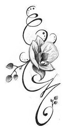 Fleur avec initiale - vanina perrot | Tatouage orchidee, Tatouage et Tatouage poignet