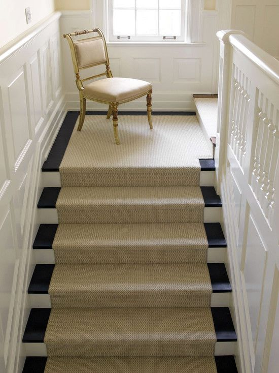 Best Traditional Staircase Black Stair Risers Design Sisal 400 x 300