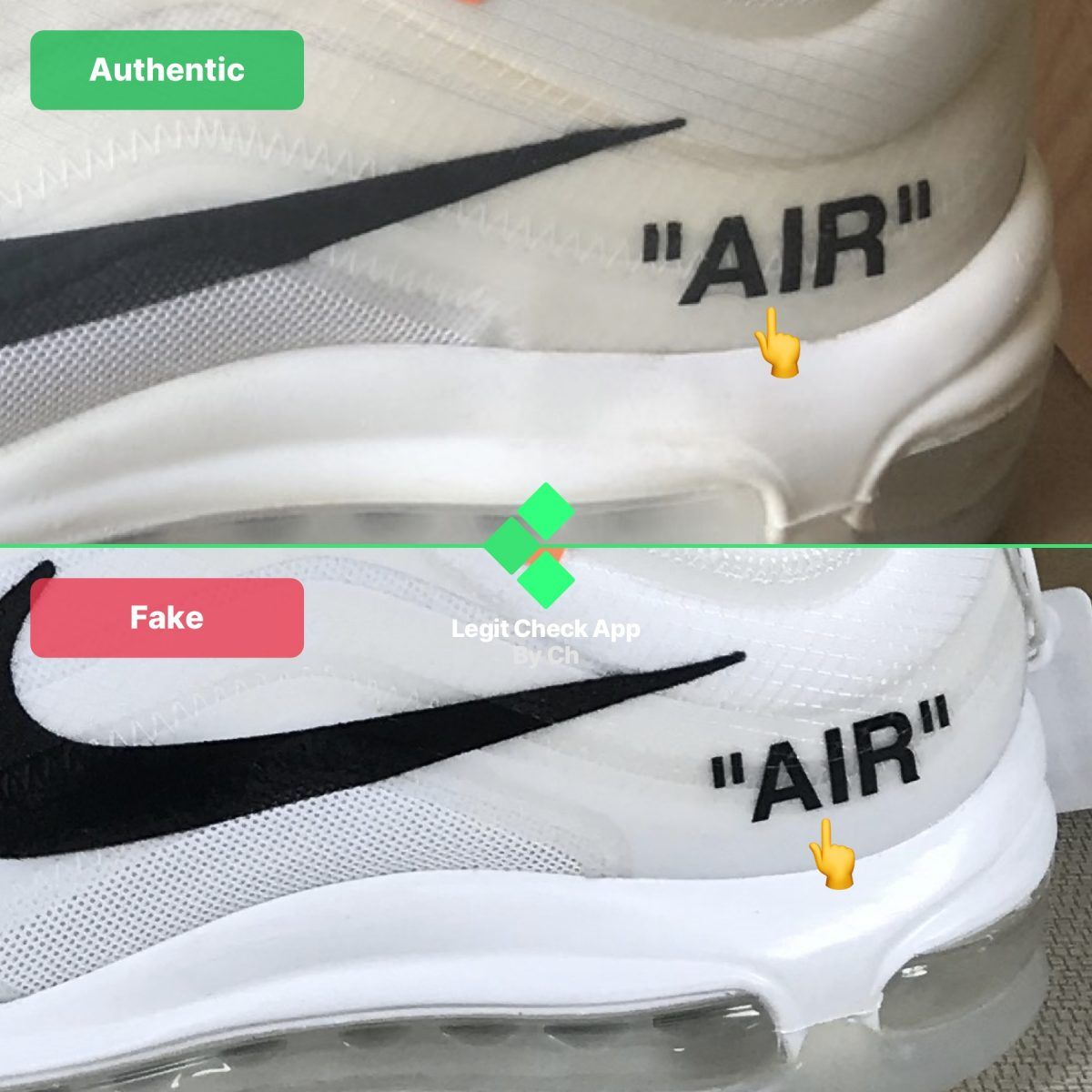 Step 2 Inspect The Air Midsole Text On Your Off White Air Max 97 Og In 2020 Air Max 97 Air Max Fake Shoes