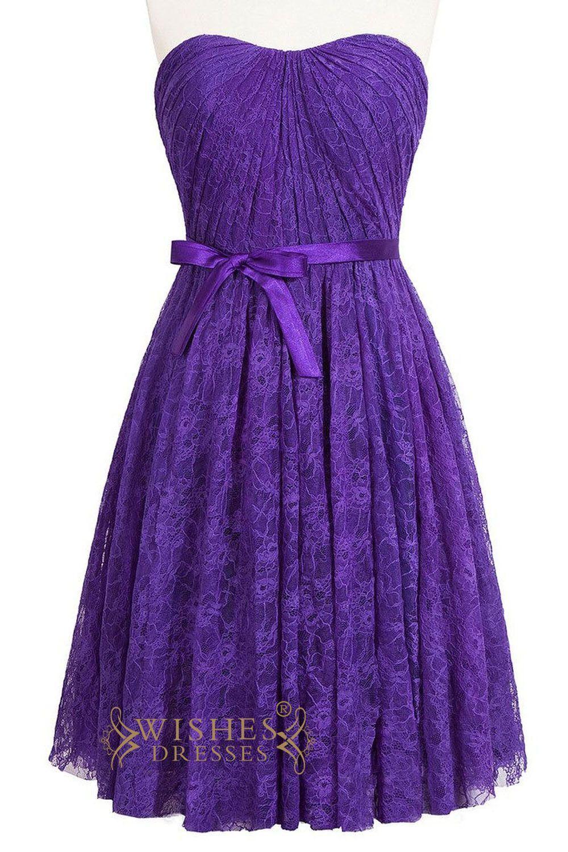 A-line Slight Sweetheart Purple Lace Bridesmaid Dress Am218 | Damas ...