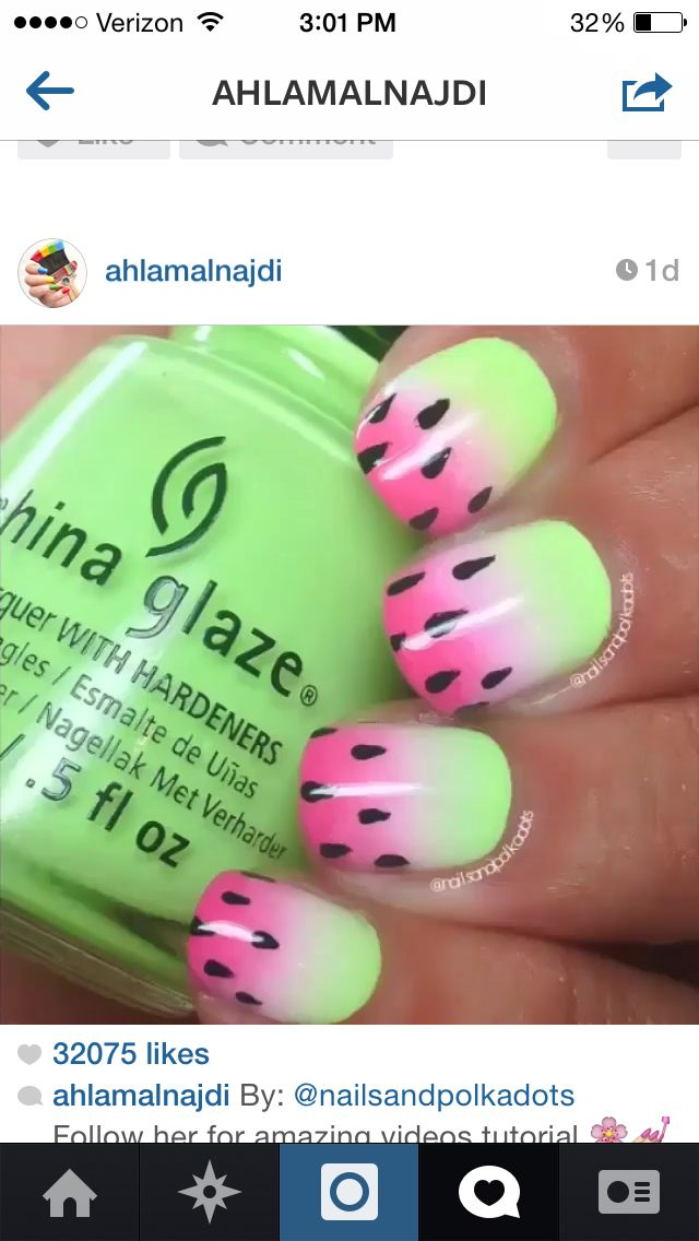 Ombré watermelon nails | Nails | Pinterest | Watermelon nails ...