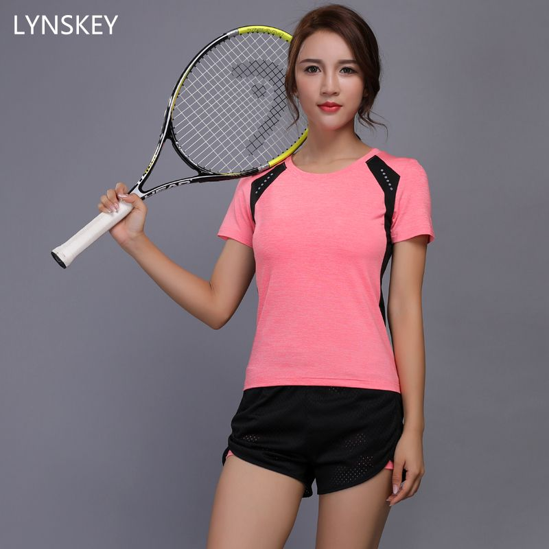 LYNSKEY Women Tennis Clothes Yoga Set Badminton Clothing Fitness Running Shirt+Shorts Quick Dry Gym Workout Jogging Sport Suit