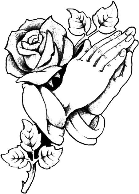 Cultured Rose With Praying Hands Copy Jpg 452 630 Roses Drawing Cross Coloring Page Prayer Hands Tattoo