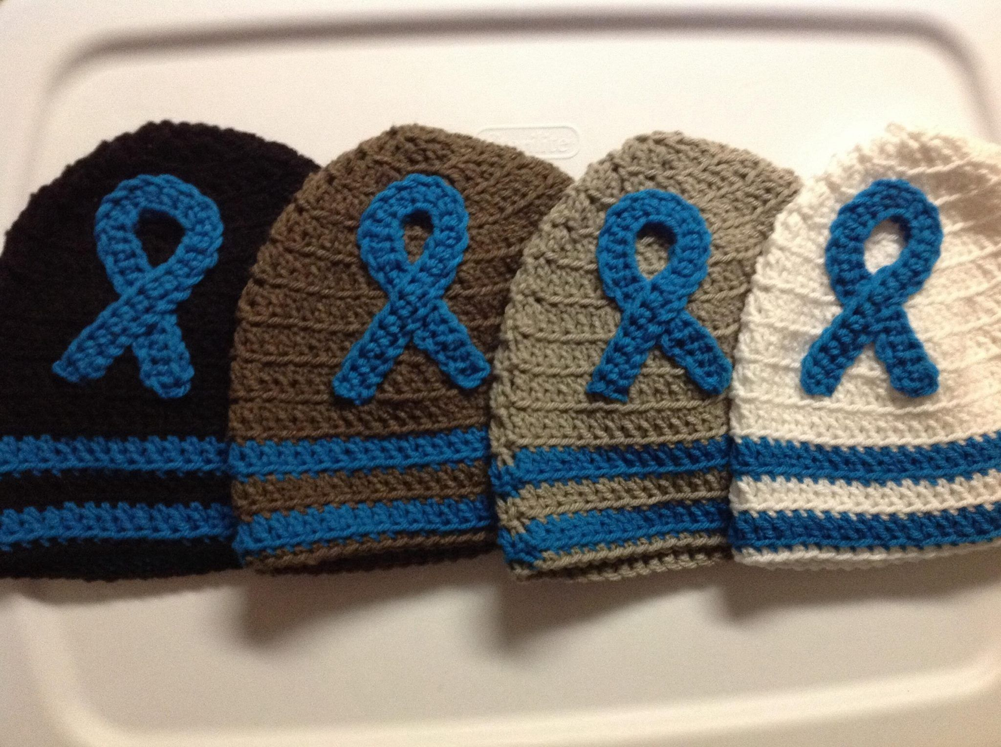 Blue Awareness Ribbon Hats (Dysautonomia)  www.facebook.com/POTSTops