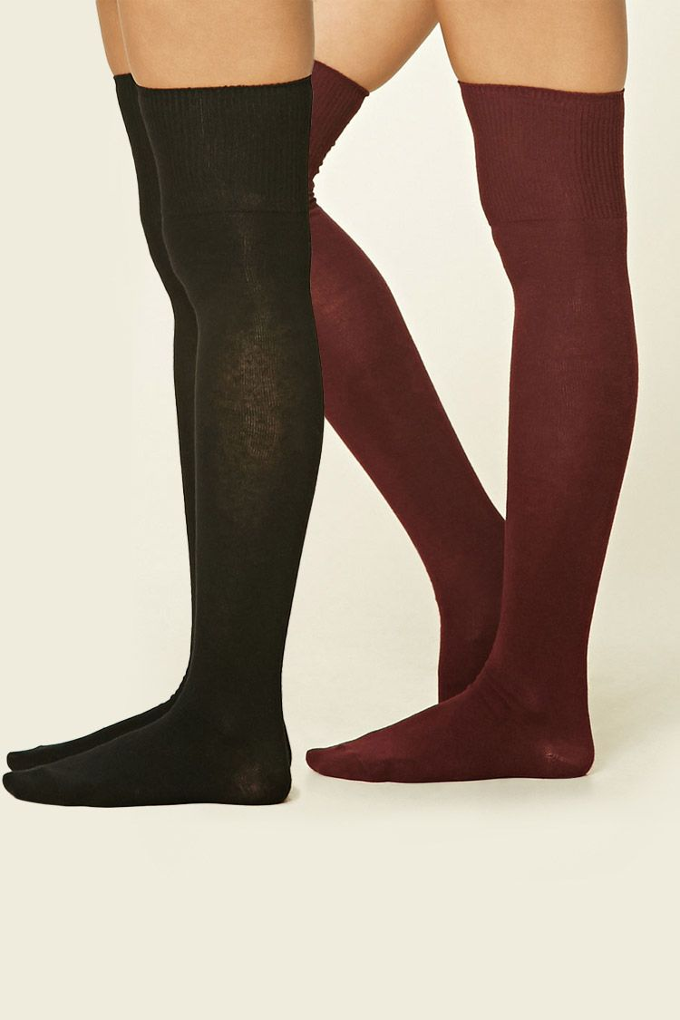 A two-pack of knit over-the-knee socks featuring ribbed trim.