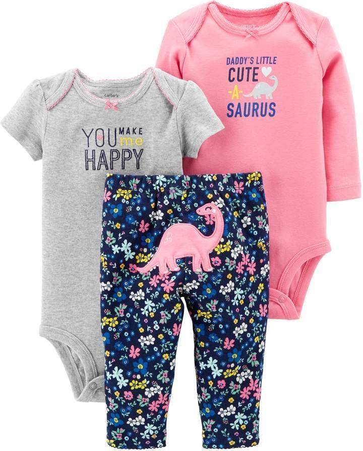 Baby Girl Carter s 3-piece. Dinosaur Bodysuit   Pants Set  61bd4b047