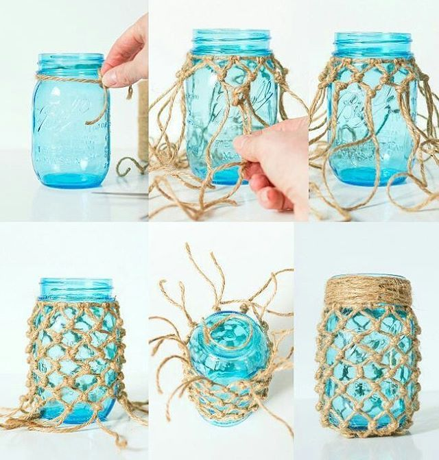 Fishnet Wrapped Mason Jar Craft from www.itallstartedwithpaint.com #masonjardiy