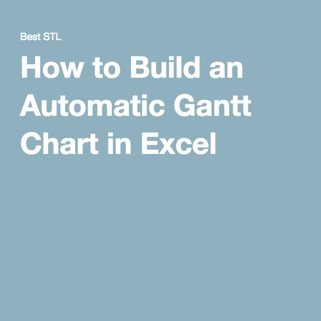 How To Build An Automatic Gantt Chart In Excel Project Management