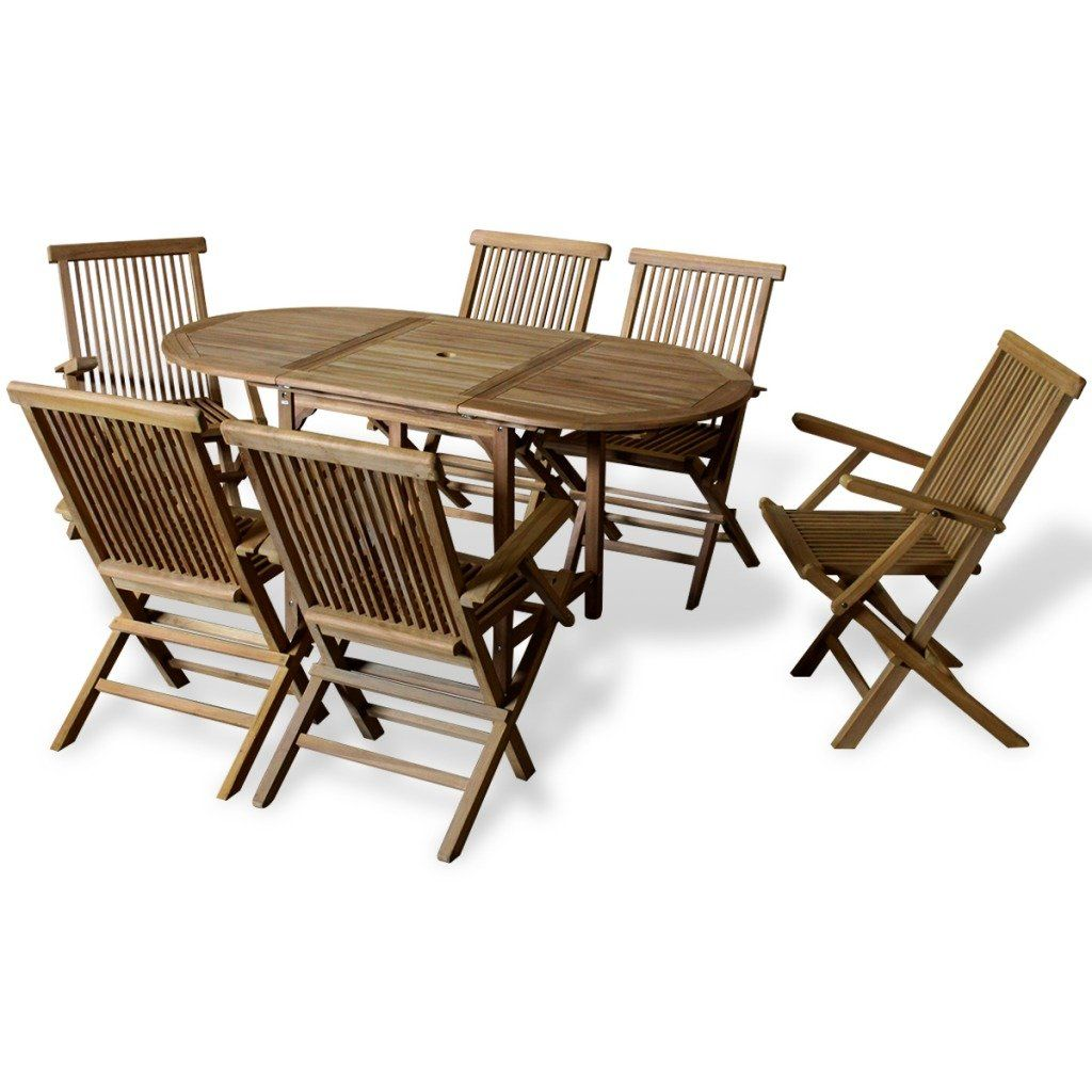 Vermont Extendable Garden Table And Chair Set: Outdoor Dining Set 7 Pieces Teak With Extendable Table