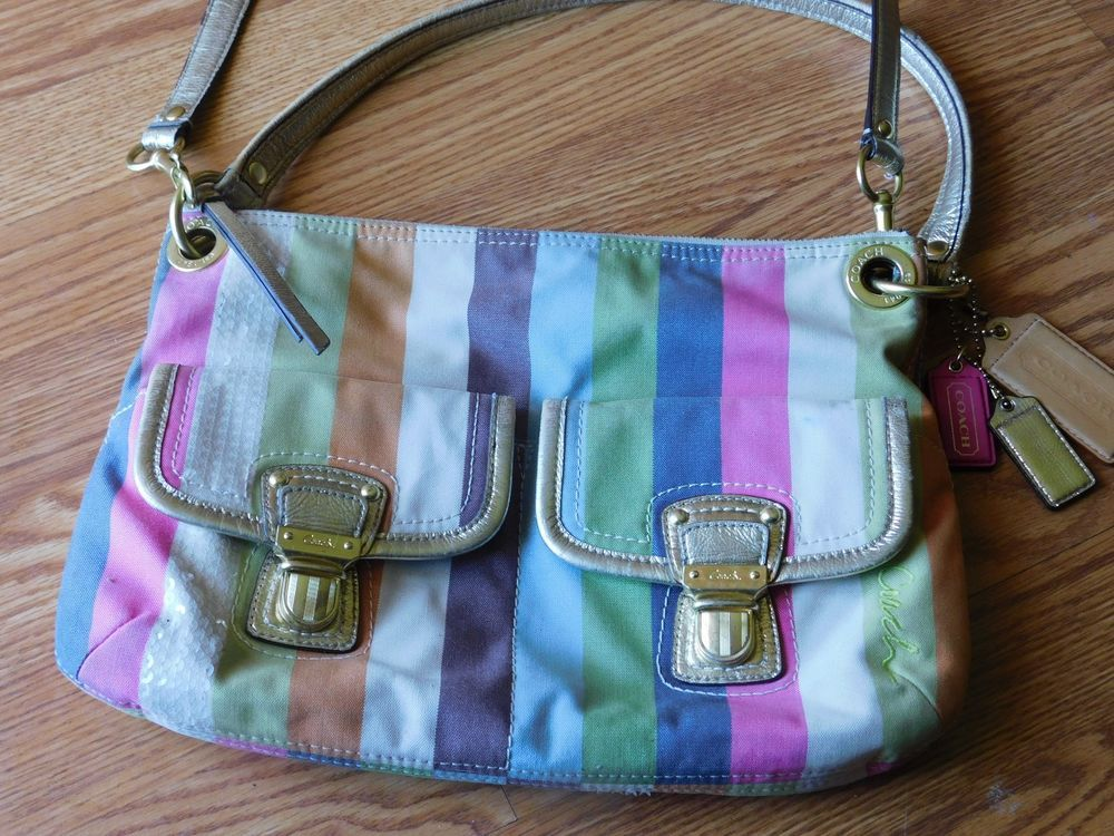 Coach poppy legacy stripe double pocket crossbody handbag