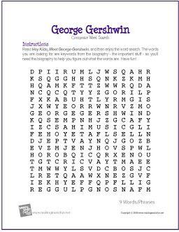 George Gershwin | Free Composer Word Search Worksheet | Word ...