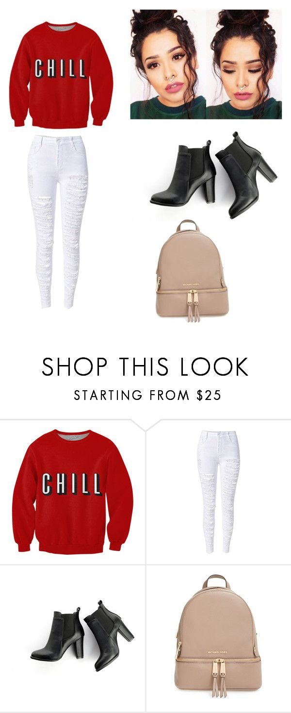 """I wanna marry you b**** chill "" by jasminemalhorstytompay ❤ liked on Polyvore featuring beauty, SWEET MANGO and MICHAEL Michael Kors"