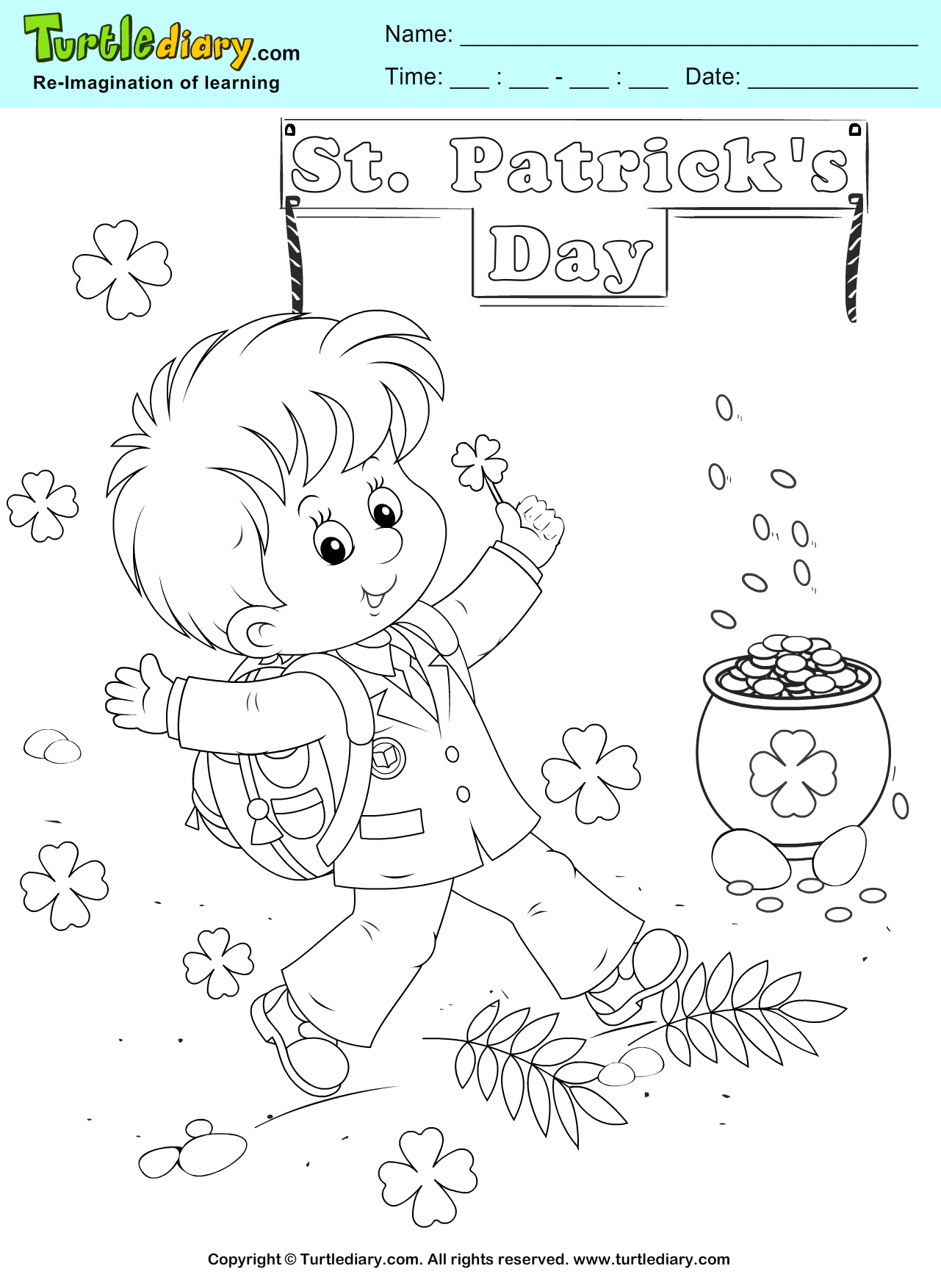 Gold Coins Coloring Page | St. Pat\'s | Pinterest