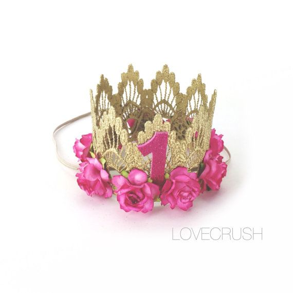 First Birthday Sienna crown gold  hot pink by lovecrushbowtique #crownheadband