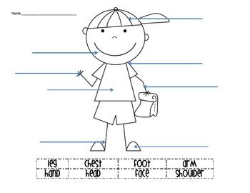 body parts labeling activity ell students worksheets and students. Black Bedroom Furniture Sets. Home Design Ideas