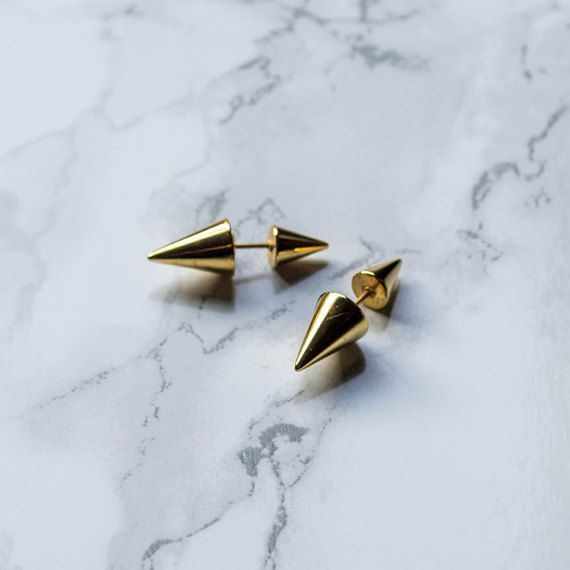 Gold Spike Earrings / front back earring / ear by MimaByKinga