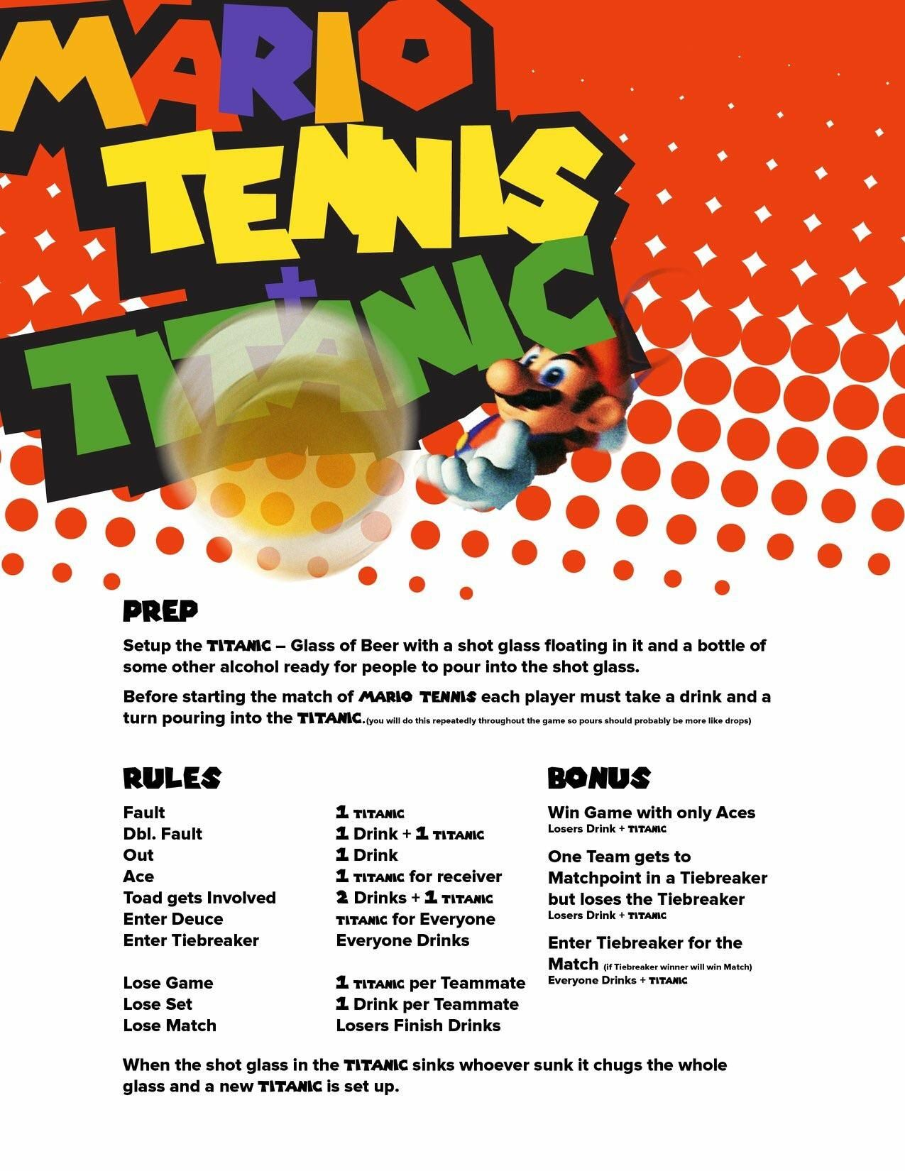 Mario Tennis drinking game for New Years Eve! Drinking