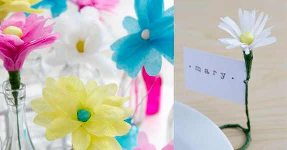 Paper flowers. Emily Dawe craft. Workshop. Colourful flower makes. Flower place setting.