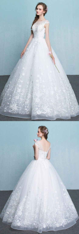 Customized White Wedding Dresses, Long Wedding Dresses, Long White ...