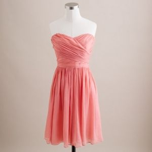 J.crew Pink Coral Arabelle Dress In Silk Chiffon Style Number Dress