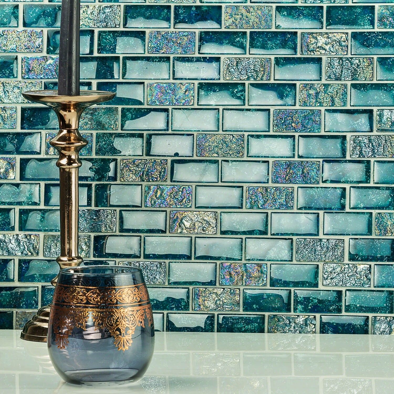 Laguna Iridescent Aquamarine 1x2 Brick Glass Tile | Pinterest ...