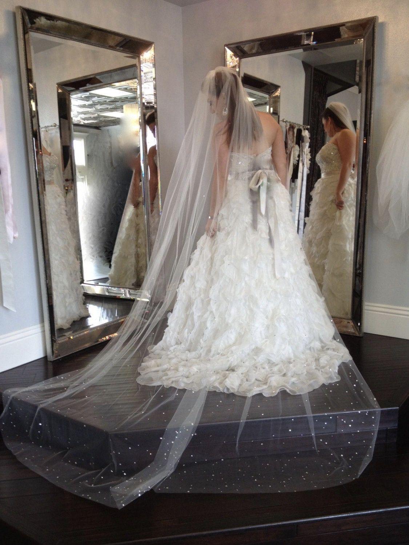 Wedding Veil Swarovski Crystal Rhinestone Cathedral Length