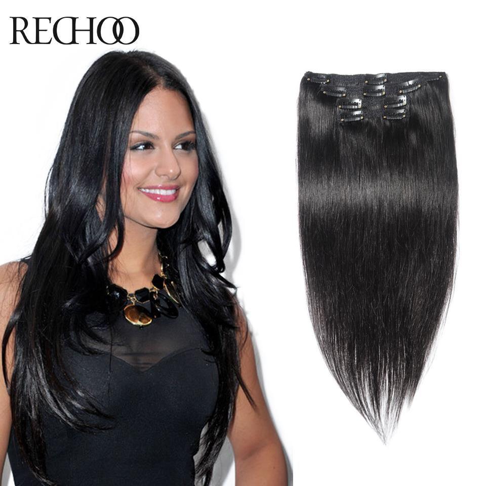 Human hair extensions clip in pcs natural clip hair color