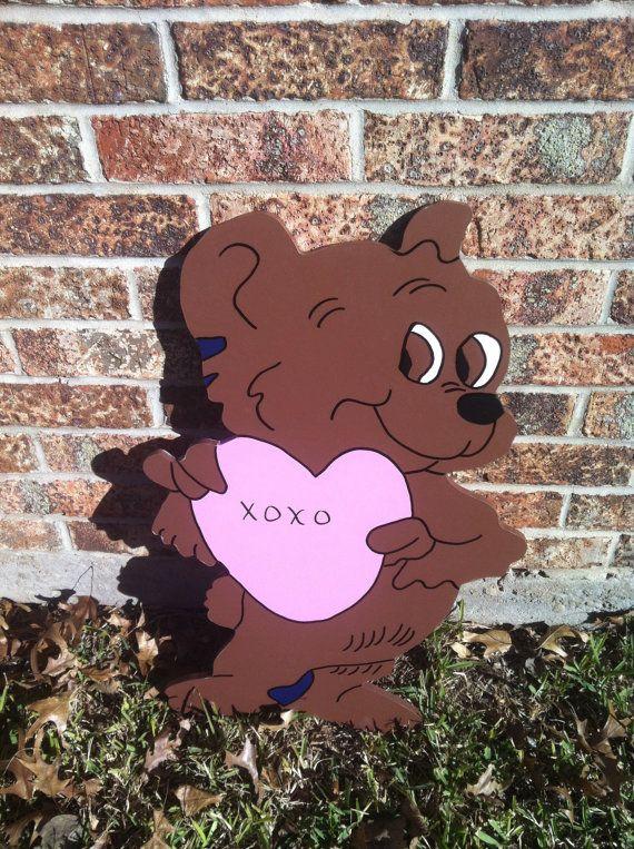Brown bear with pink heart  http://www.etsy.com/shop/HolidayYardArt?ref=shop_sugg