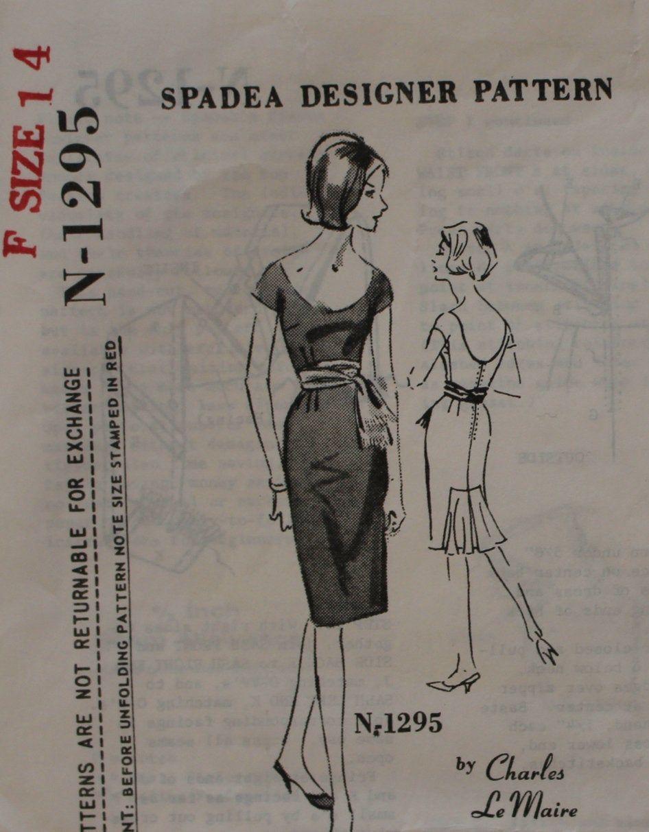 Academy Award Winning Designer Charles LeMaire - Rare Vintage Sewing Pattern for LeMaire Designer Dress - Spadea N-1295 - 1960s #academyaward