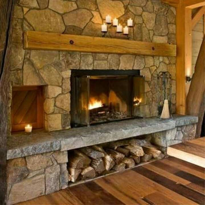 Stone Fireplace With Wood Storage Below Home Fireplace Old