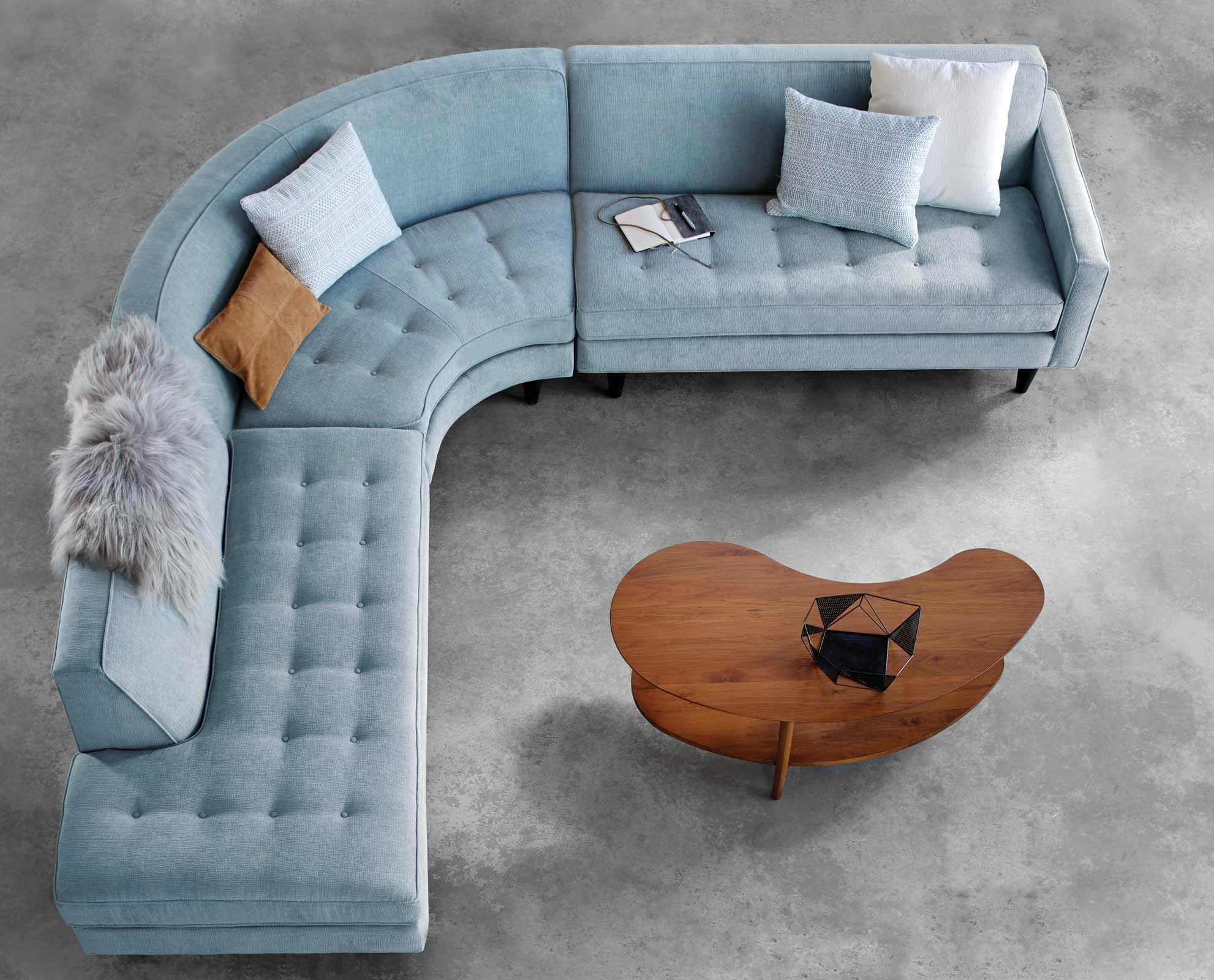 Ingrid Sectional From Scandinavian Designs Polished And Chic The Hallmark Details Of The Ingrid Sectional Inc Corner Sofa Design Curved Sofa Livingroom Layout