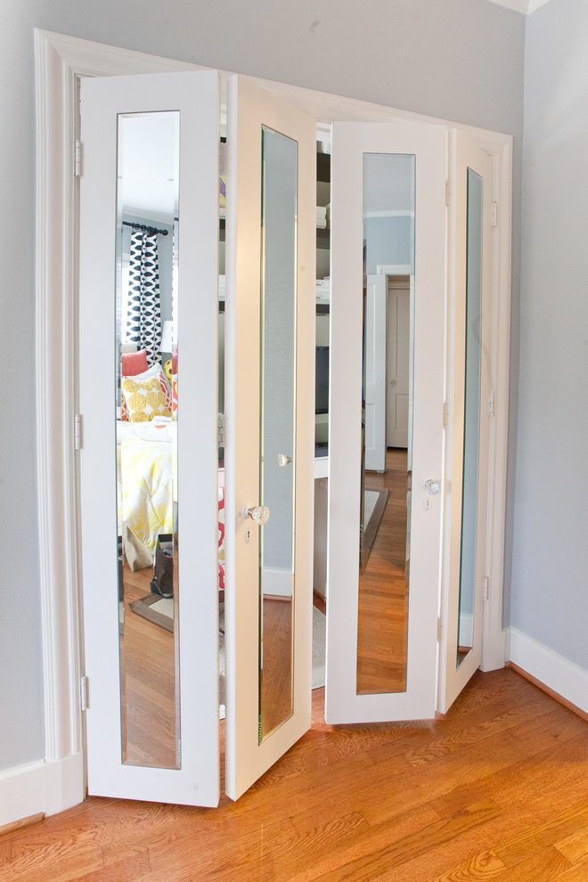 Mirror Closet Door Deck Midcentury With Mirrored Doors