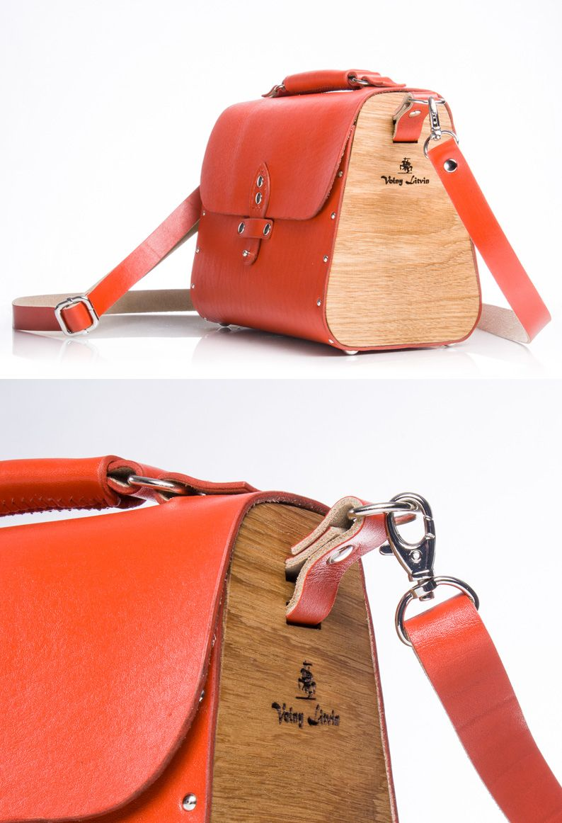 ac527c2a35b1 Red Crossbody Bag, Wooden Bag, Leather Bags Handmade, Leather Craft, Small  Leather