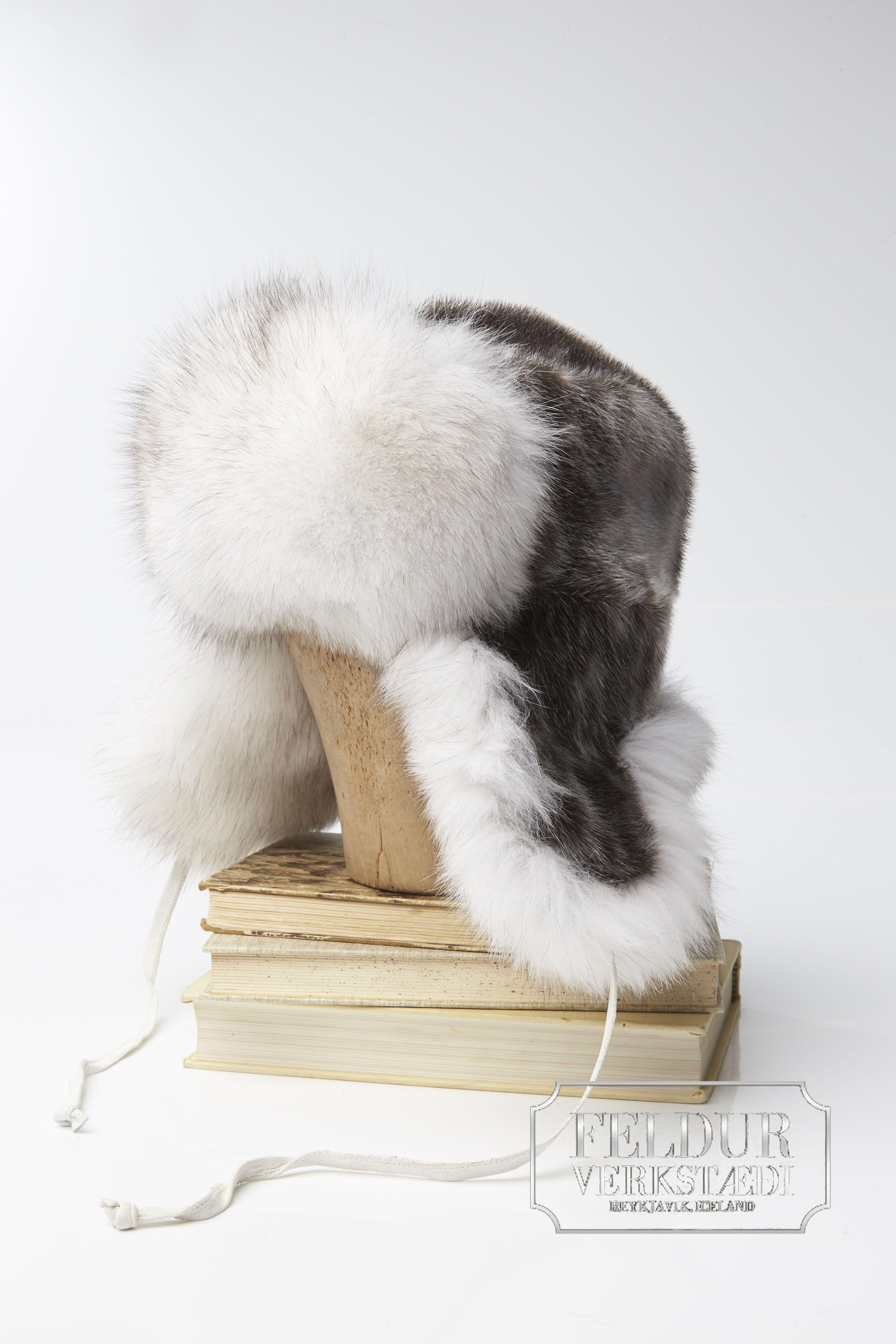 FROST Seal Skin Hat w  Blue Fox Fur www.feldur.is  1215a46b9db8