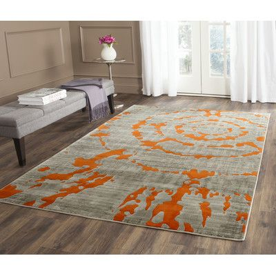 "World Menagerie Deasia Light Gray & Orange Area Rug Rug Size: 5'2"" x 7'6"""