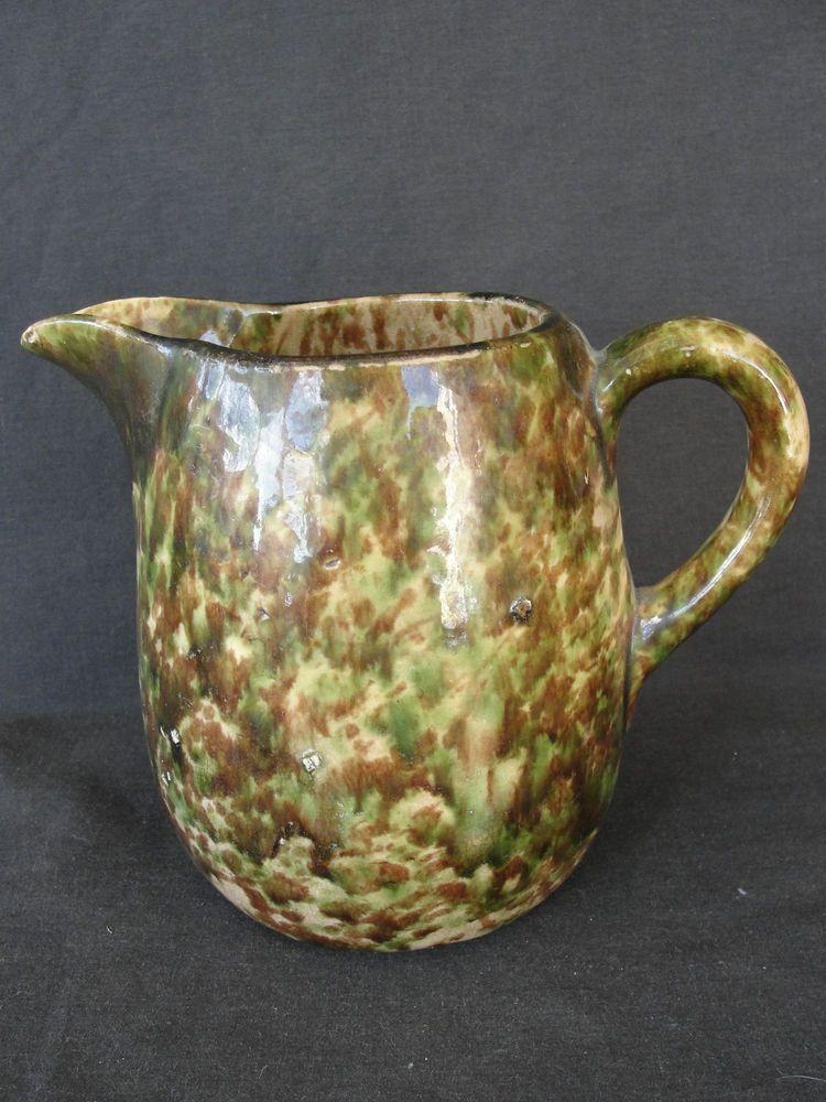 """Antique 5 3/4"""" Green Spatterware Stoneware Pitcher Bennington Rockingham"""