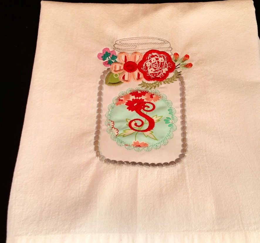 Initial or monogram personalized embroidered tea towel, flour sack towel,  mason jar with flowers