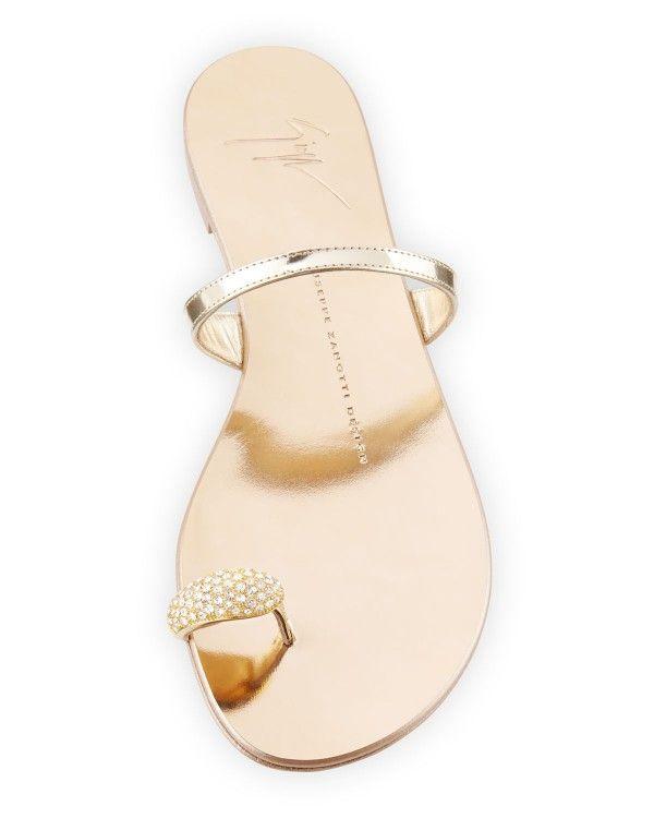 af2c436f494b Giuseppe Zanotti - Metallic Toe-Ring Flat Sandal