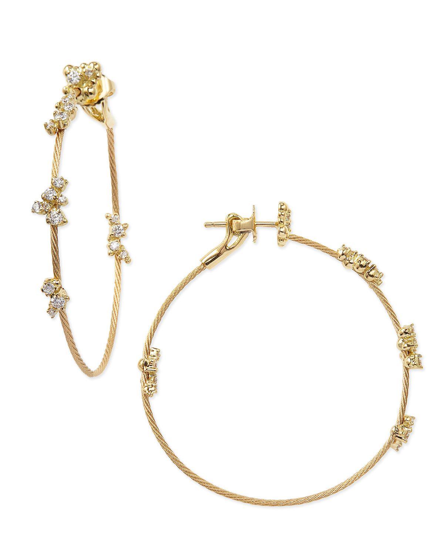 18k Yellow Gold Diamond Confetti Single Wire-Hoop Earrings - Paul ...