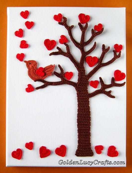 Crochet Wall Art - Valentine\'s Day Tree interchangeable for other ...