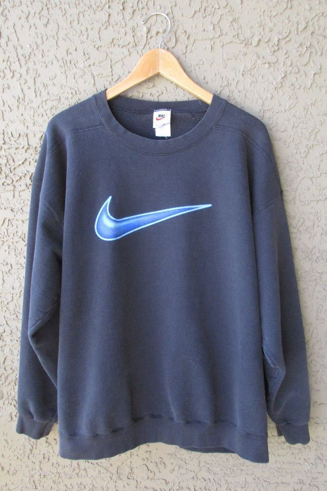 ef762a064acc3 Vintage Nike Big Swoosh Sweatshirt Black Shirt Blue Swoosh Made in ...