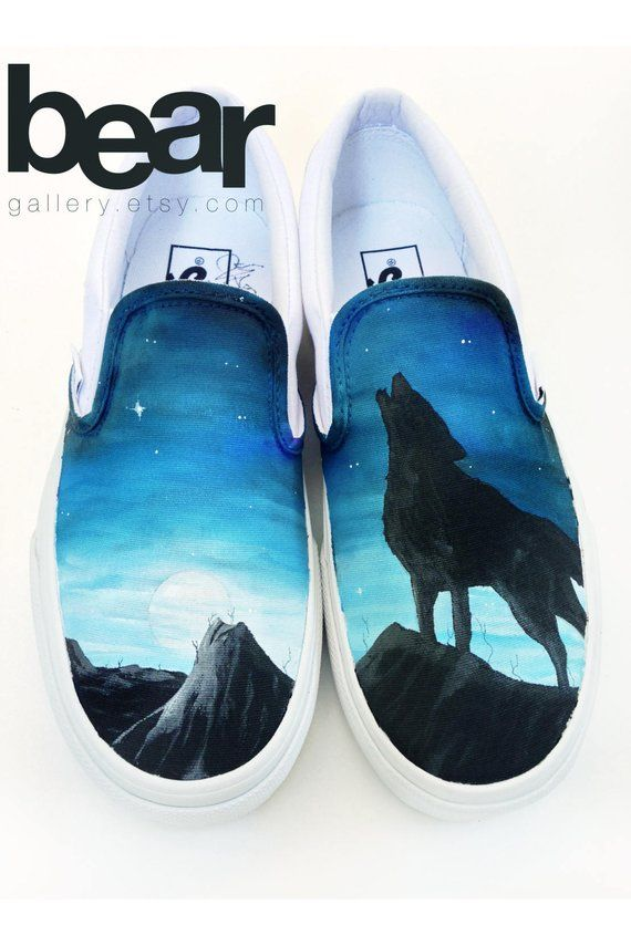 Custom Vans Shoes - Hand Painted Wolf a77cf066d