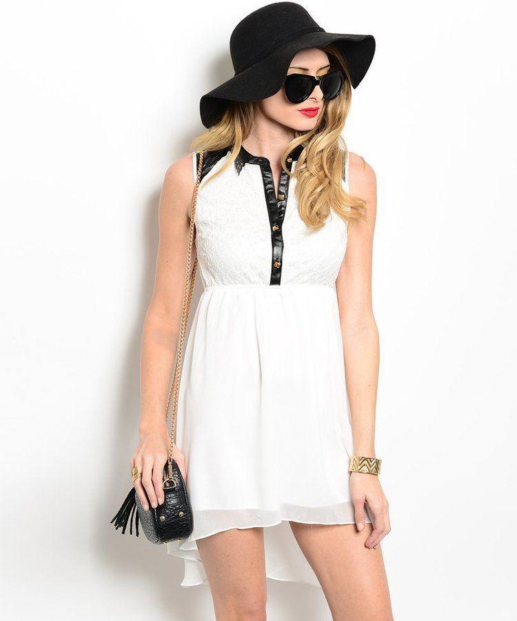 5eb435015 Comprar vestido blanco cuello negro por internet