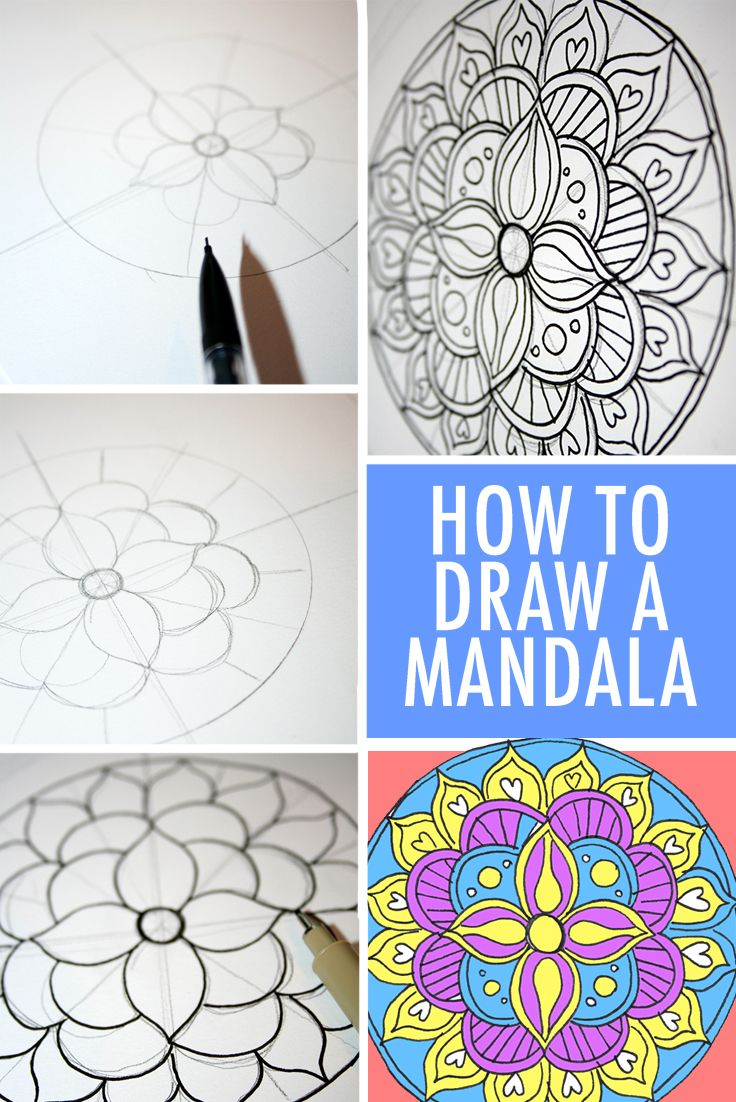 How to Draw a Mandala (With FREE Coloring Pages!) | Pinterest ...